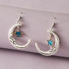 1 Paar Moon & Star Charm Drop Ohrringe