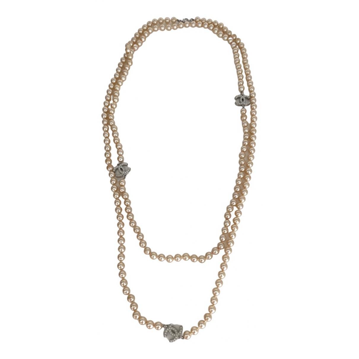 Chanel - Sautoir CC pour femme en perles - beige