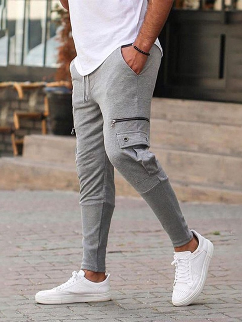 Ericdress Pocket Plain Pencil Pants Lace-Up Spring Casual Pants