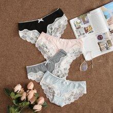 4pack Floral Lace Trim Panty Set