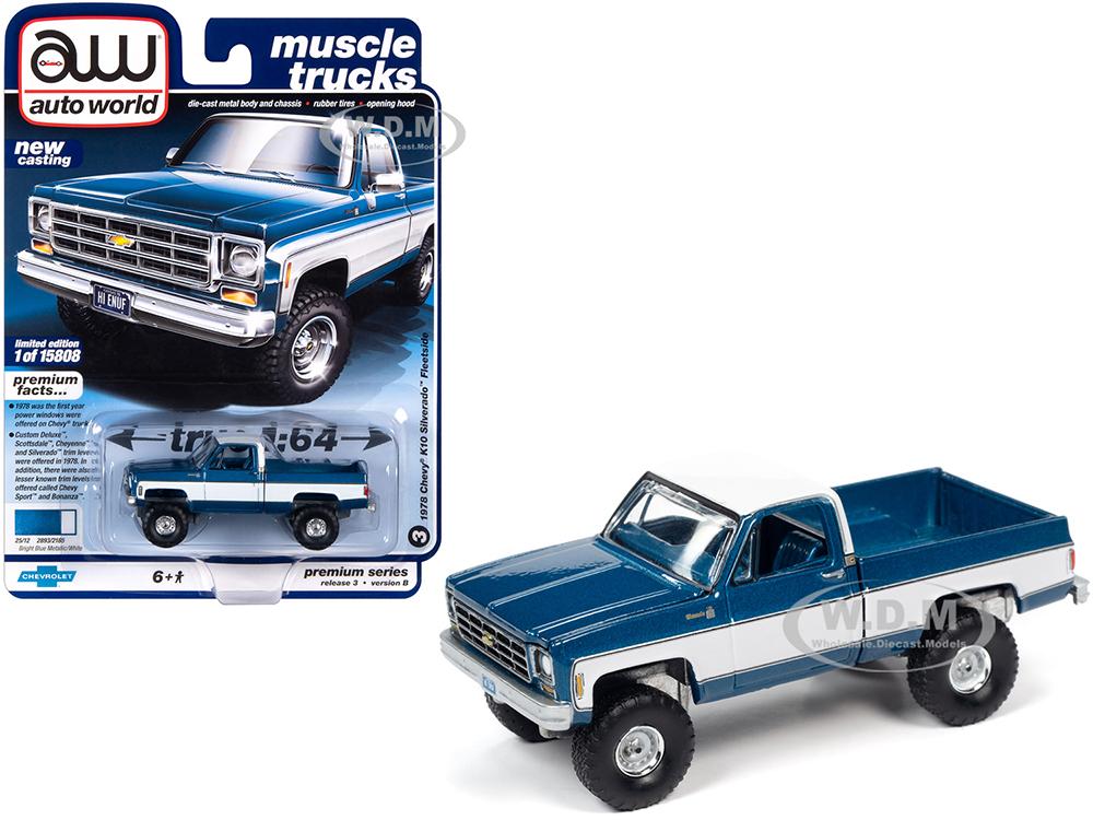 1978 Chevrolet K10 Silverado Fleetside Pickup Truck Blue Iridescent Metallic and White