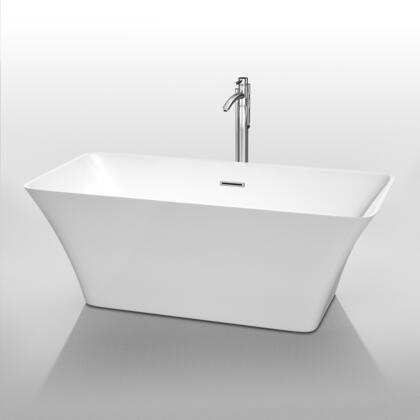 WCBTK150459 59 in. Center Drain Soaking Tub in White with Chrome