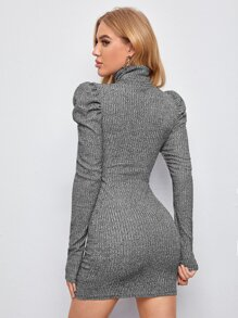 High Neck Leg-of-mutton Sleeve Dress Without Belt