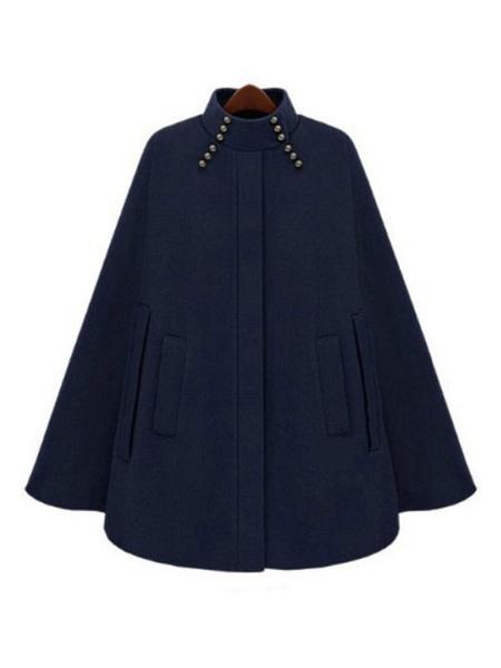 Milanoo Women Poncho Coat Stand Collar Studded Short Sleeve Oversized Cape Coat