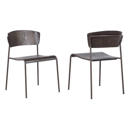 Nick Collection LCNKSIBRWA Walnut and Metal Open Back Dining Accent Chairs (Set of