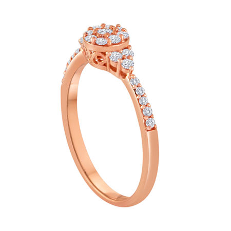 1/3 CT. T.W. Diamond 10K Rose Gold Bridal Ring, 6 , Pink