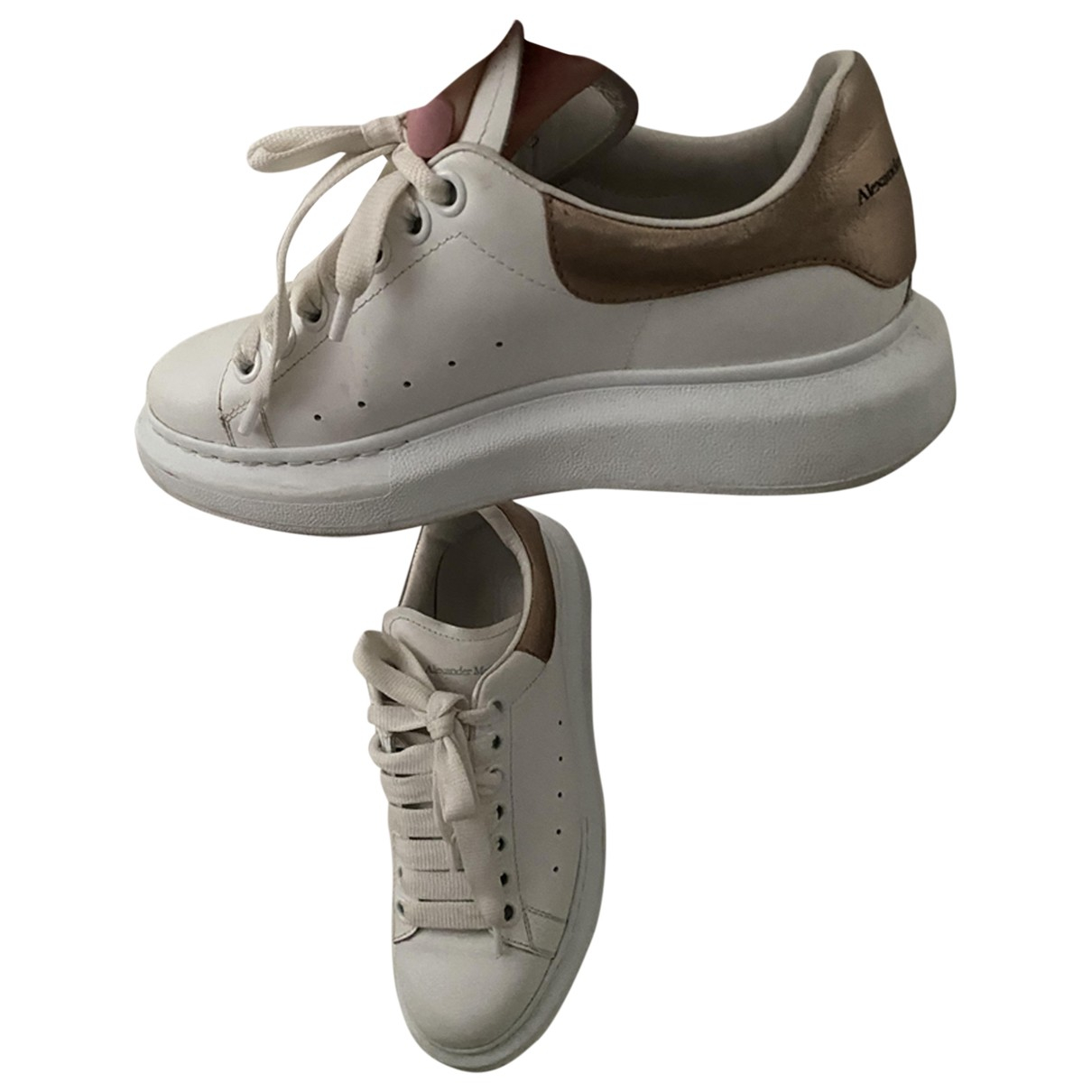 Alexander Mcqueen N White Leather Trainers for Women 3 UK