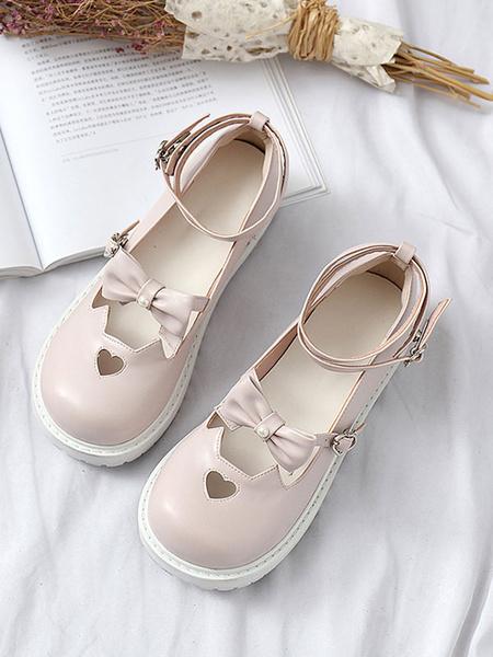 Milanoo Sweet Lolita Footwear Bow Cat Ear Sweetheart Cut Out Strappy Pigskin Lolita Shoes
