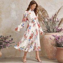 Shirred Frill Floral Print Chiffon Dress