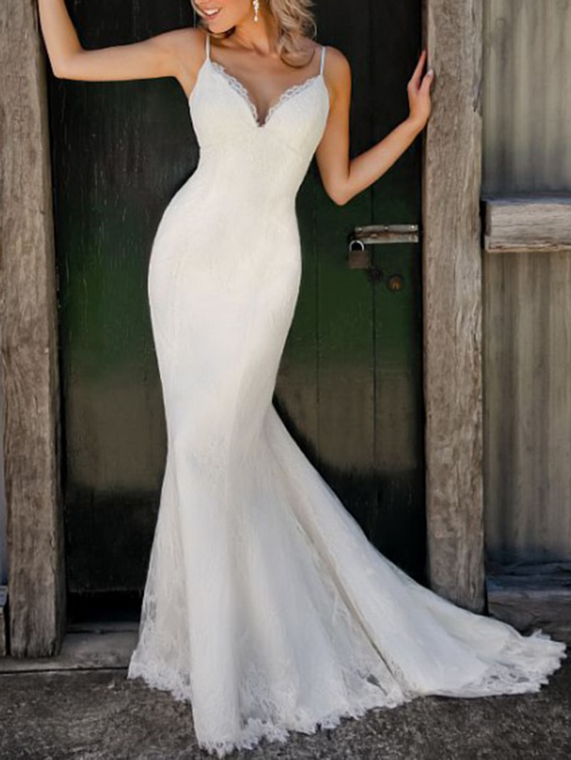 Ericdress Straps Mermaid Lace Beach Wedding Dress