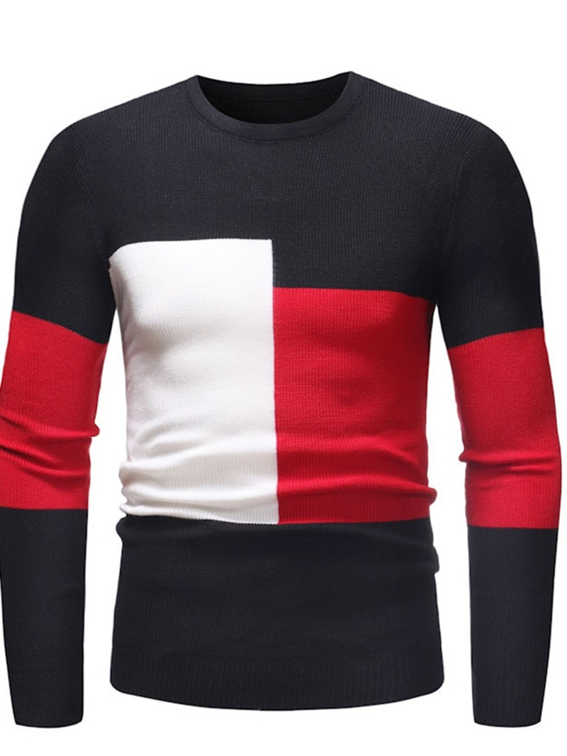 Ericdress Patchwork Round Neck Color Block Fall Mens Casual Sweater