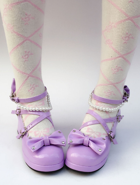 Milanoo Purple Lolita Shoes Sweet Chunky Heel Pearl Round Toe Bow Cross Front Ankle Strap Lolita Pumps