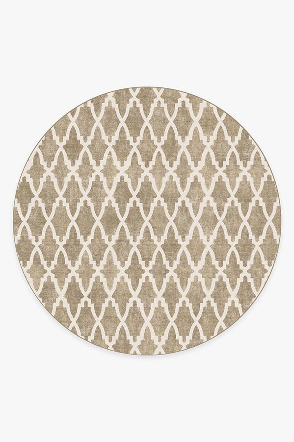 Washable Rug Cover & Pad | Soraya Trellis Natural Rug | Stain-Resistant | Ruggable | 8' Round