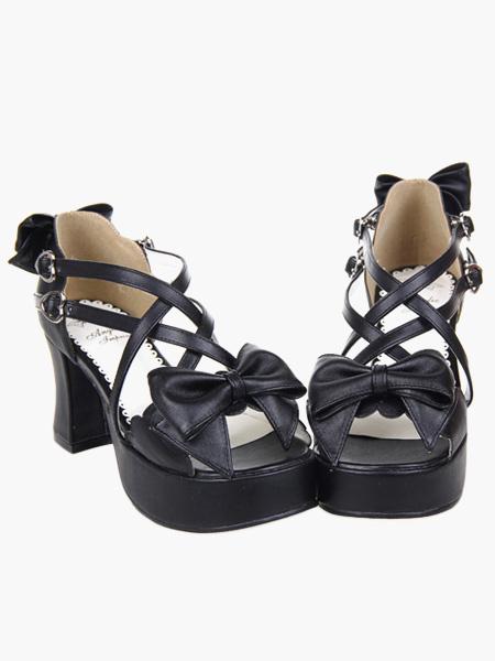 Milanoo Black Lolita Heels Platform Crossing Straps Bow PU Lolita Shoes