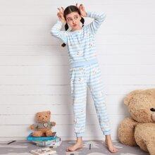 Girls Flannel Rabbit And Stripe Print PJ Set