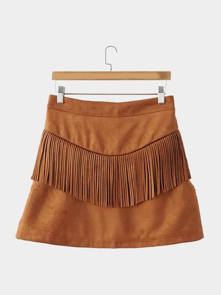 Yoins Suede High Waist Zip Back Fastening Skirt with Tassel Details