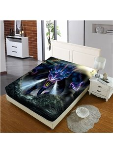 Angry Purple Dragon Reactive Printing 1-Piece Polyester Bed Cover / Mattress Cover