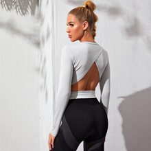 Wrap Backless Solid Sports Tee