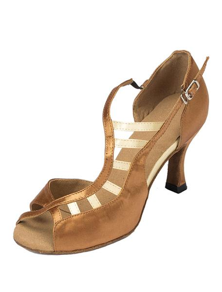 Milanoo Black Dance Sandals Peep Toe Cut Out Satin Heels for Women
