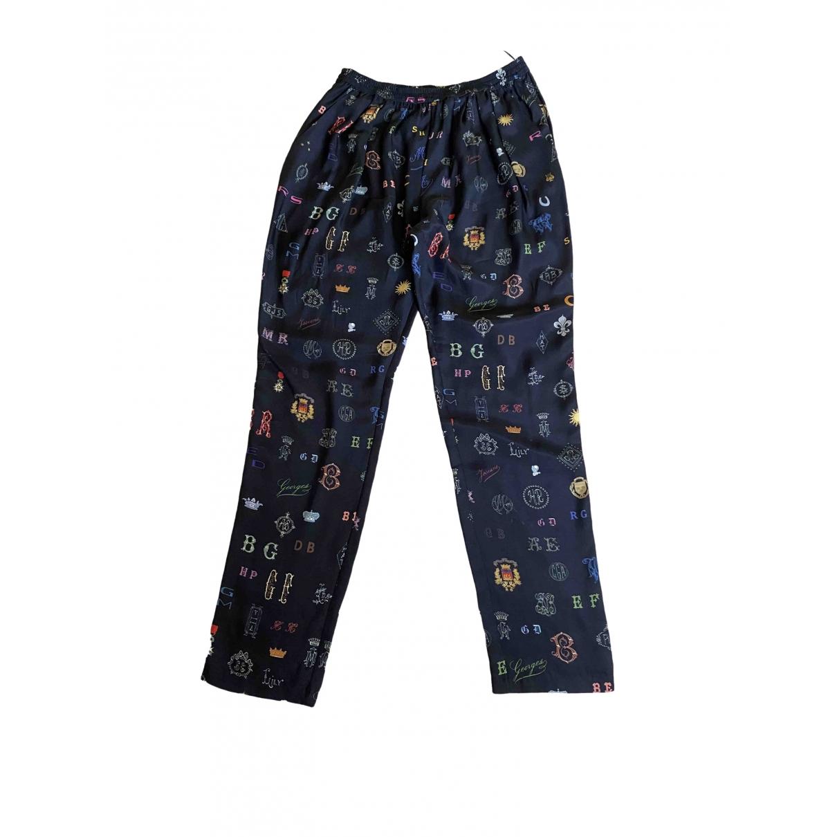 Stella Mccartney \N Blue Silk Trousers for Women 42 IT