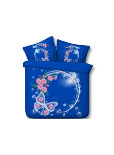 Garland and Butterfly Printed Cotton 4-Piece Blue 3D Bedding Sets/Duvet Covers