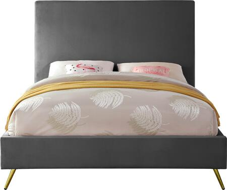 Jasmine JASMINEGREY-Q Queen Bed with Gold and Chrome Leg Sets  Full Slats and Velvet Upholstery in