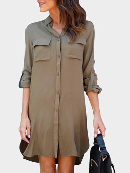Yoins Army Green Casual Button-Down Shirt Dress