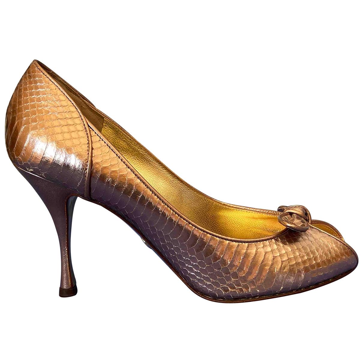 Dolce & Gabbana - Escarpins   pour femme en python - metallise