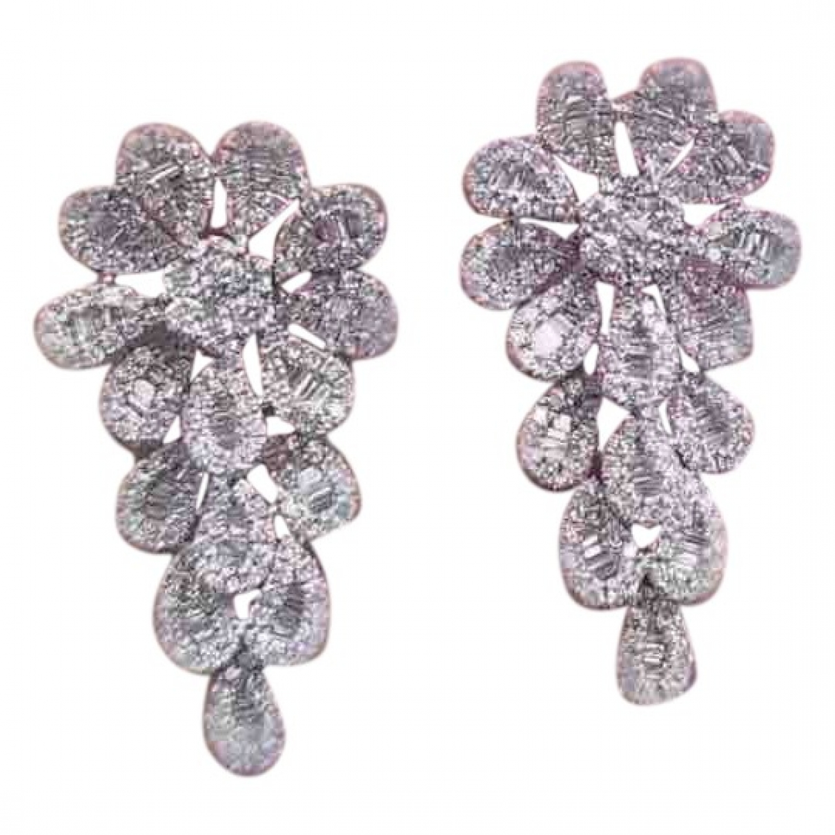 Non Signe / Unsigned Motifs Floraux OhrRing in  Silber Weissgold