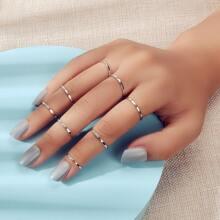 8pcs Simple Metal Ring