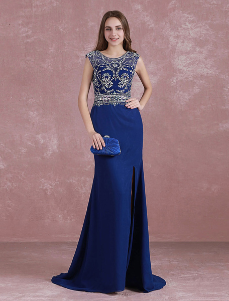 Milanoo Royal Blue Prom Dress Mermaid Split Graduation Dress Beading Illusion Back Sweep Train Chiffon Party Dress