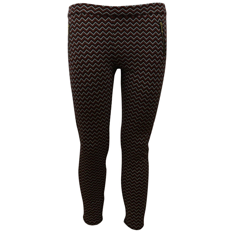 Janie And Jack Orange Red / Black White Chevron Ponte Pant Pants & Capri - 4