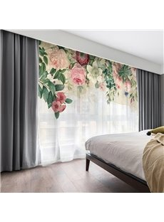 3D Pink Floral Romantic Style Printed 2 Panels Custom Sheer