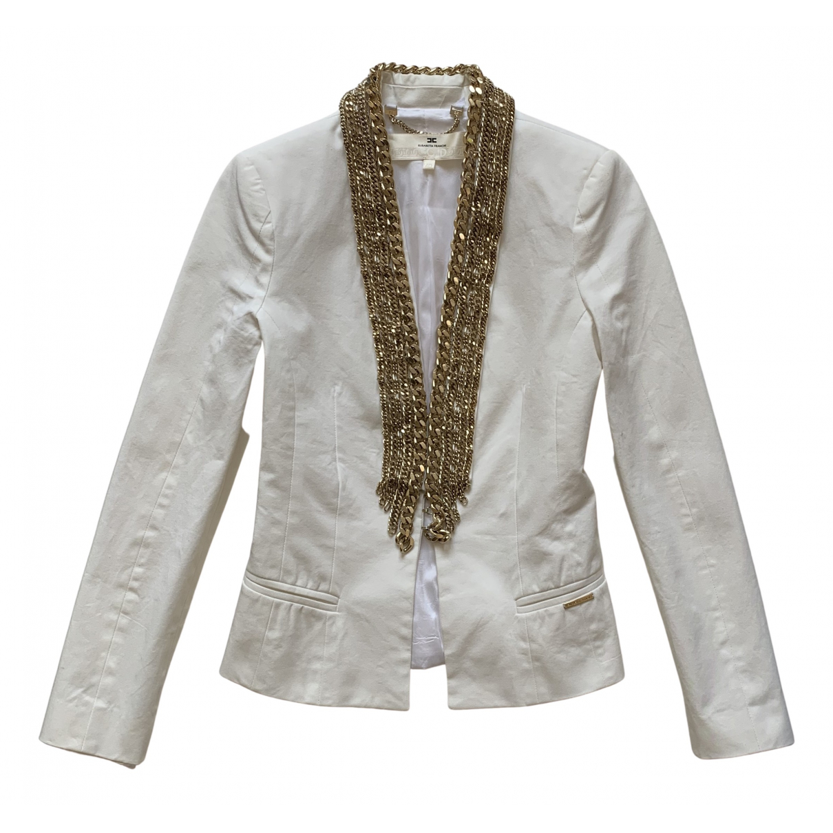 Elisabetta Franchi \N White Cotton jacket for Women 40 IT