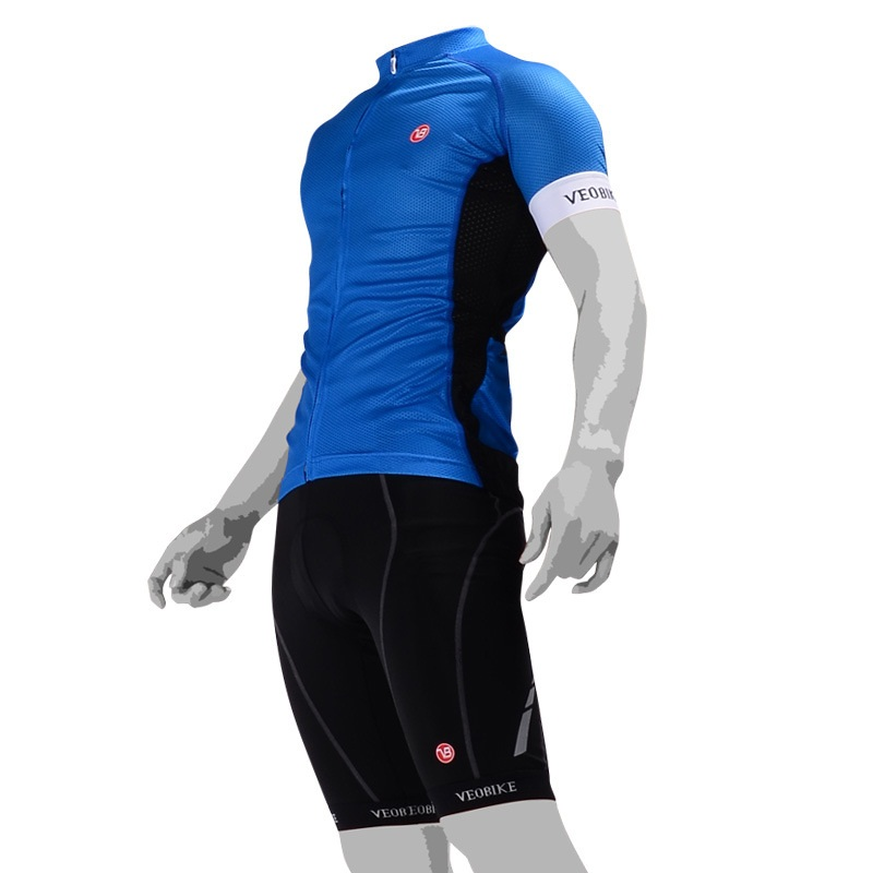 Men's Cycling Clothing Set Breathable Quick Dry Jersey Glitter Blue