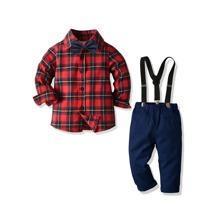 Toddler Boys Tartan Plaid Bow Front Shirt & Suspender Pants