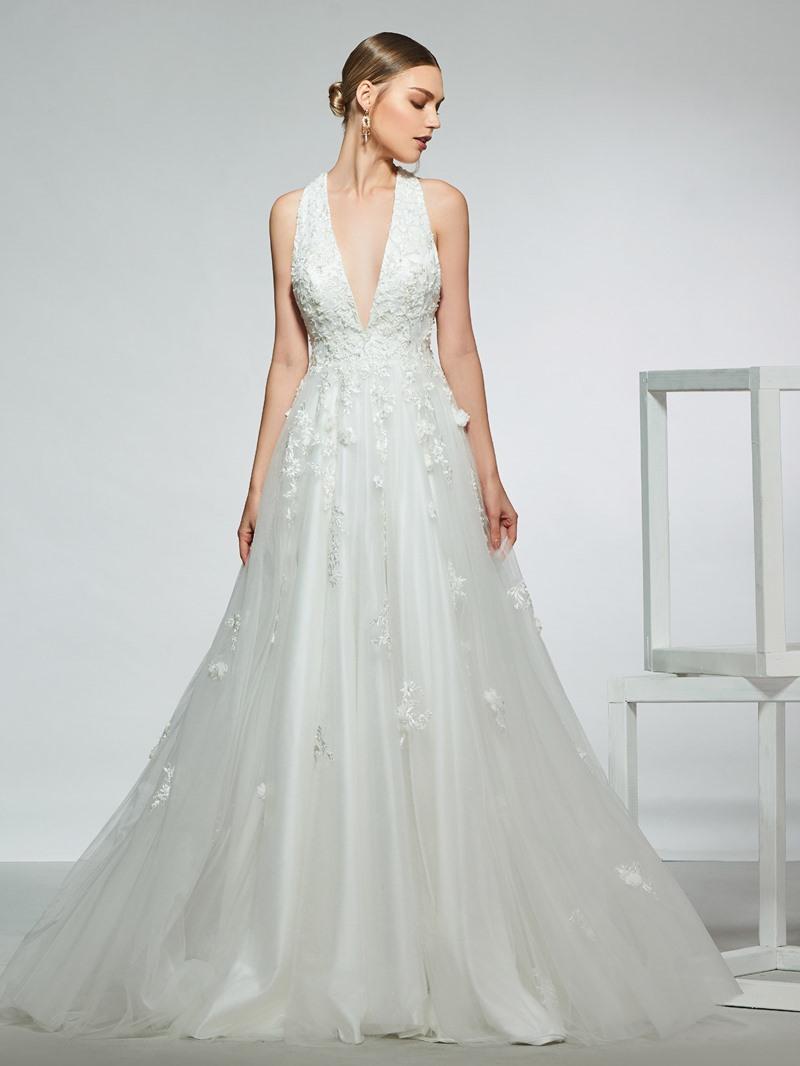 Ericdress V-Neck Appliques Beading Wedding Dress