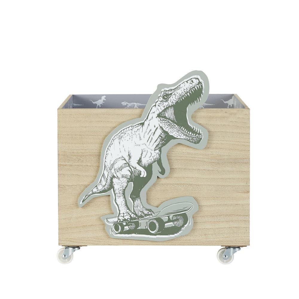 Spielzeugbox mit Rollen und Dinosaurier-Aufdruck