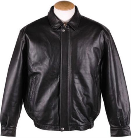 Mens Quilted Lining Lamb Leather Bomber Jacket Black