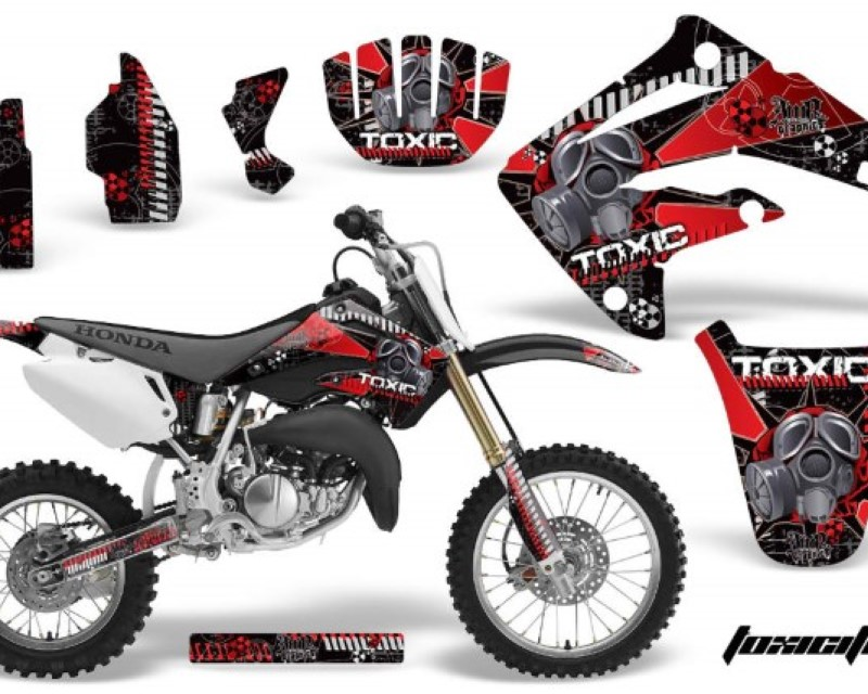AMR Racing Dirt Bike Graphics Kit MX Decal Wrap For Honda CR85 CR 85 2003-2007 TOXIC RED BLACK