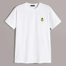 Maenner T-Shirt mit Sonnenblume Stickereien