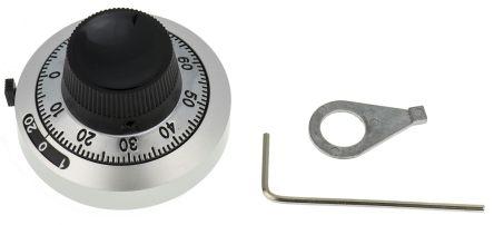 Bourns Potentiometer Knob, Dial Type, 46mm Knob Diameter, Black, Chrome, 6.35mm Shaft