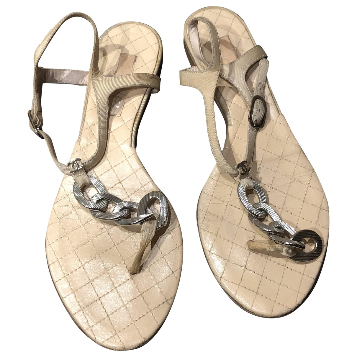 Chanel \N Beige Leather Sandals for Women 38 EU