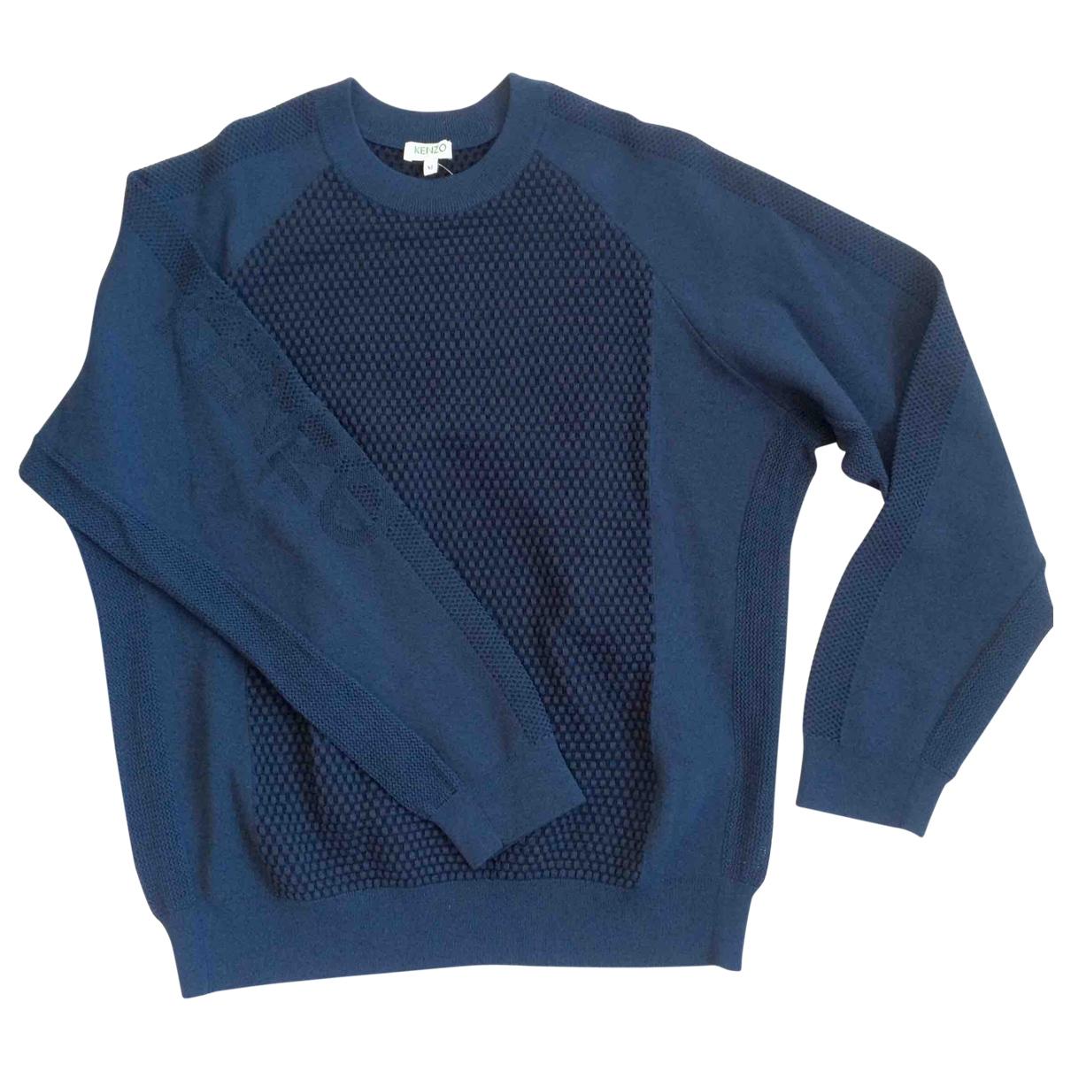 Kenzo - Pull   pour femme en laine - bleu