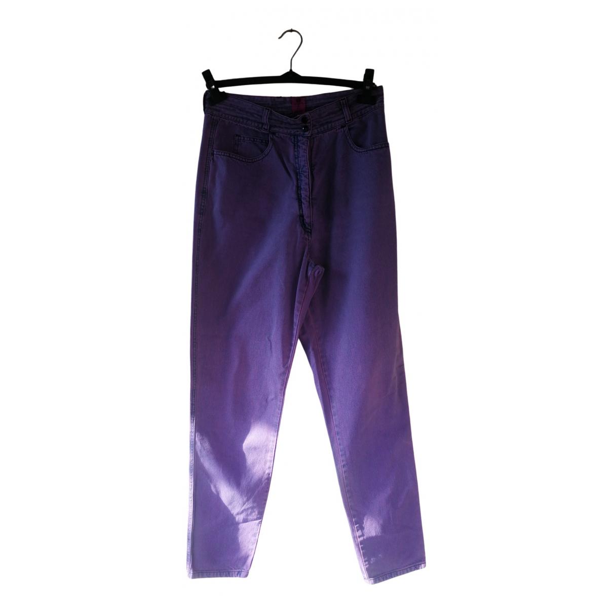 Ungaro Parallele \N Purple Cotton Jeans for Women 44 FR