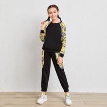 Girls Raglan Sleeve Baroque Print Pullover & Sweatpants Set