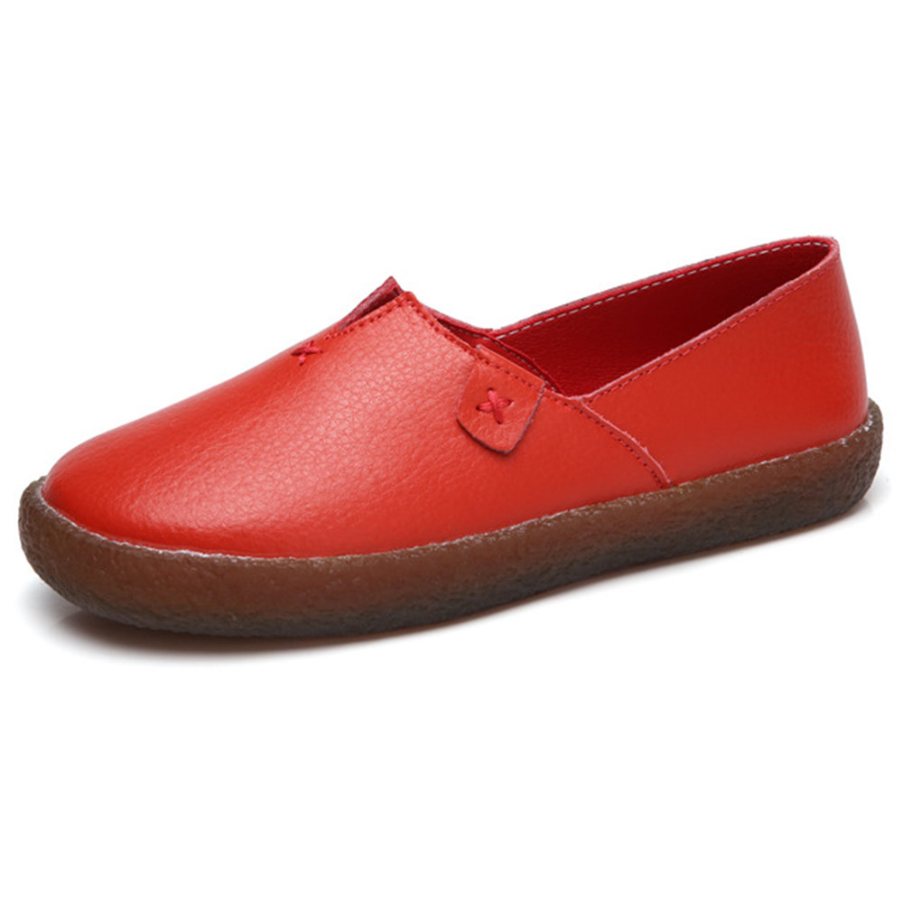 Women Daily Comfortable Solid Color Leather Flat Loafers