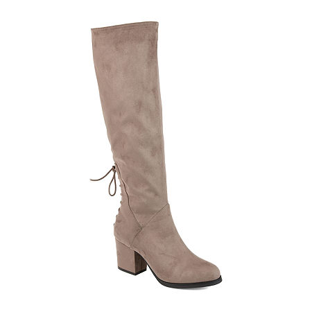Journee Collection Womens Leeda Extra Wide Calf Riding Boots Block Heel Zip, 9 Medium, Beige