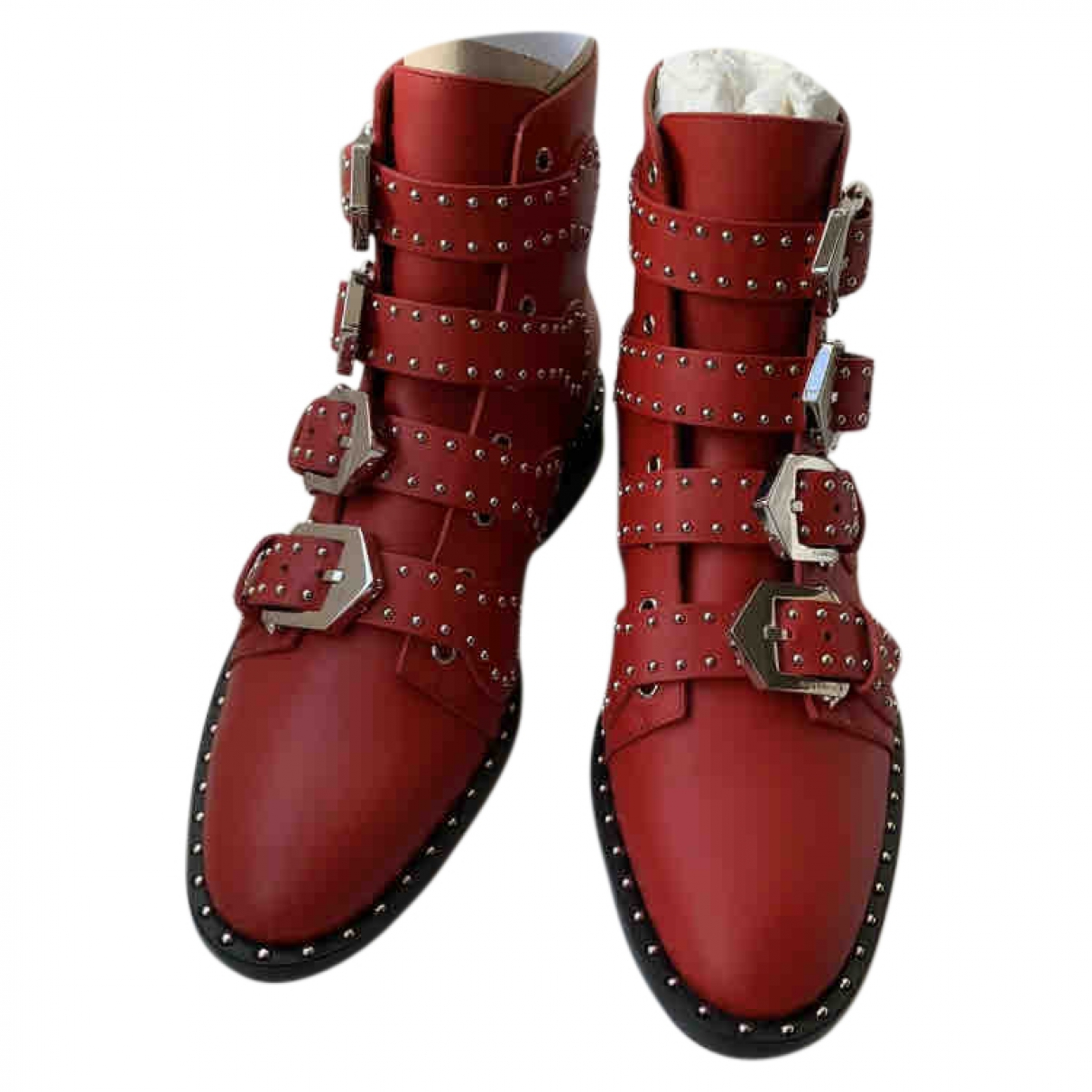 Givenchy - Boots   pour femme en cuir - rouge