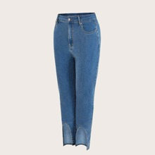 Plus Asymmetrical Hem Skinny Jeans